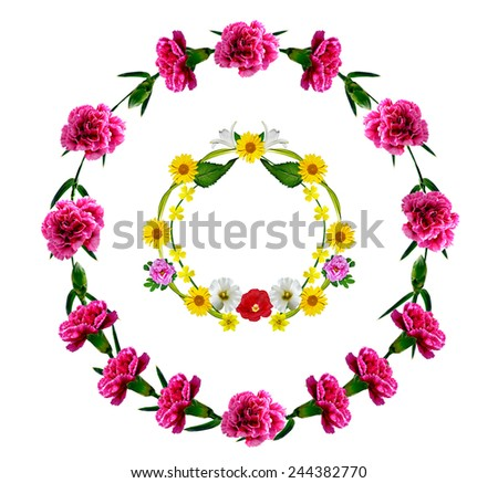 frame of flowers - stock photo