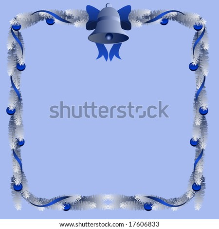 Frame of frosted pine roping with blue ribbon and bell (vector version also available)
