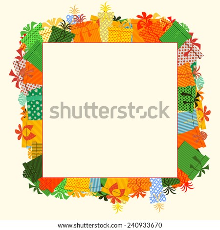 Frame of gifts box. Flat design style illustration. - stock photo
