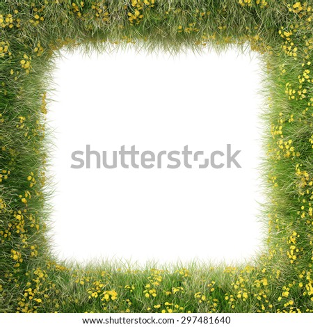 Frame of green grass and flowers. isolated on white background. - stock photo