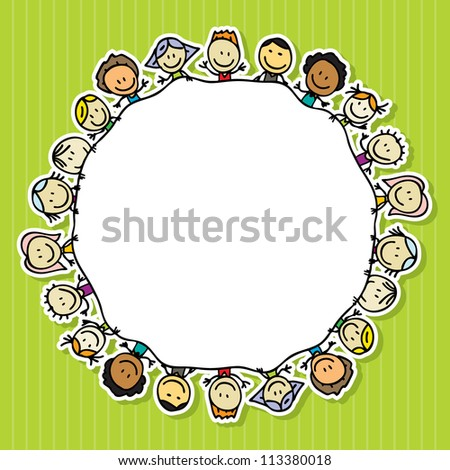 Frame of happy kids - stock photo