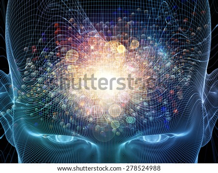 Frame of Mind series. Backdrop composed of human face wire-frame and fractal elements and suitable for use in the projects on mind, reason, thought, mental powers and mystic consciousness - stock photo