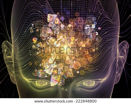 Frame of Mind series. Backdrop design of human face wire-frame and fractal elements to provide supporting element for illustrations on mind, reason, thought, mental powers and mystic consciousness