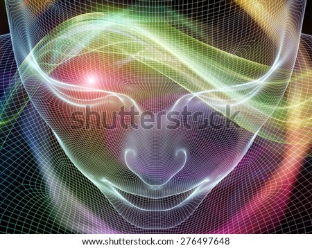 Frame of Mind series. Backdrop of  human face wire-frame and fractal elements to complement your design on the subject of mind, reason, thought, mental powers and mystic consciousness - stock photo
