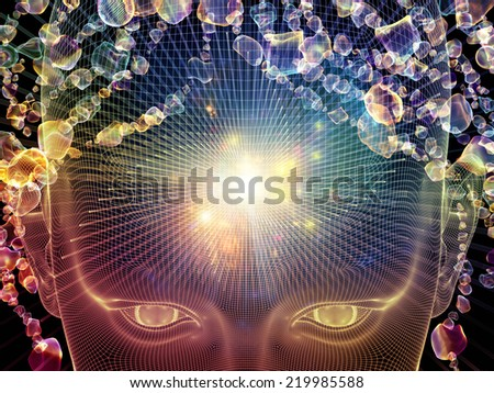 Frame of Mind series. Composition of human face wire-frame and fractal elements on the subject of mind, reason, thought, mental powers and mystic consciousness - stock photo