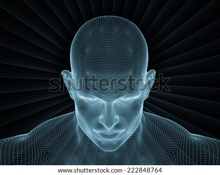 Frame of Mind series. Composition of human face wire-frame and fractal elements with metaphorical relationship to mind, reason, thought, mental powers and mystic consciousness - stock photo