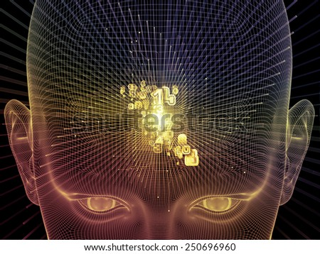 Frame of Mind series. Interplay of human face wire-frame and fractal elements on the subject of mind, reason, thought, mental powers and mystic consciousness - stock photo