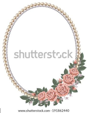 frame pearl oldfashioned roses stock illustration 191862440