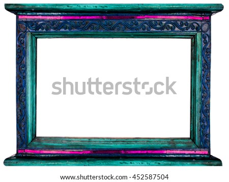 frame of picture made by wood and border decor vintage art old thai style in public buddhist temple - stock photo