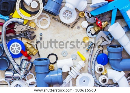 Frame of plumbing accessories - stock photo