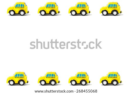 Frame of Schoolbus Toy car, white background. - stock photo