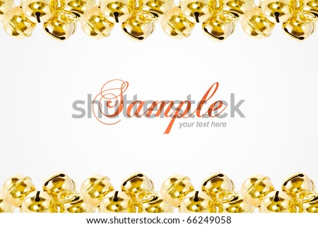 frame of shiny christmas golden bell with copyspace area