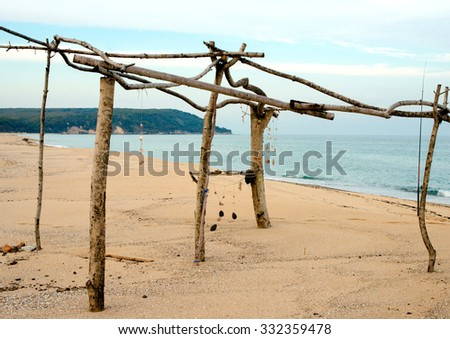 frame of the shack on dick seaside epidemic deathes - stock photo