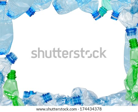 Frame of used plastic bottles - stock photo