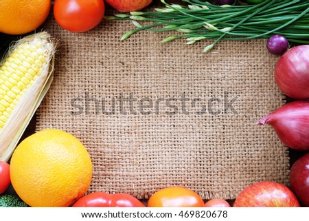 frame of vegetables and fruits