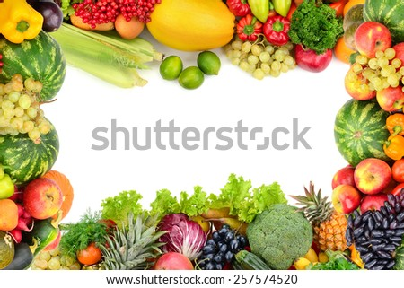 Frame of vegetables and fruits on white - stock photo