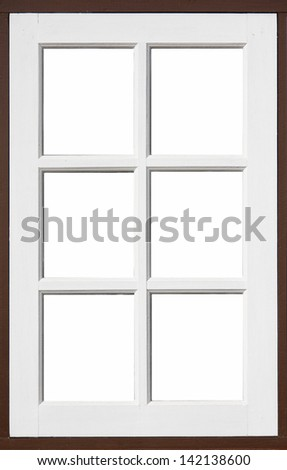 frame of wood window with white, brown color and white background - stock photo