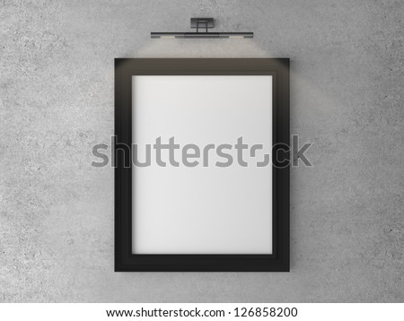 frame on concrete wall with wall lamp - stock photo