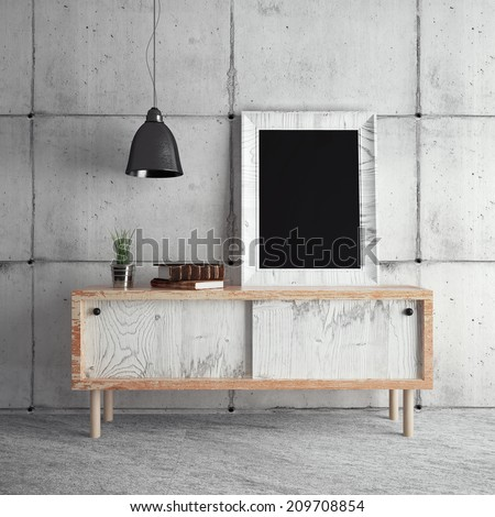 Frame on table in room - stock photo