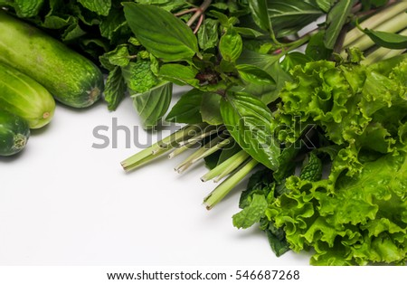 Frame or border of various green vegetable