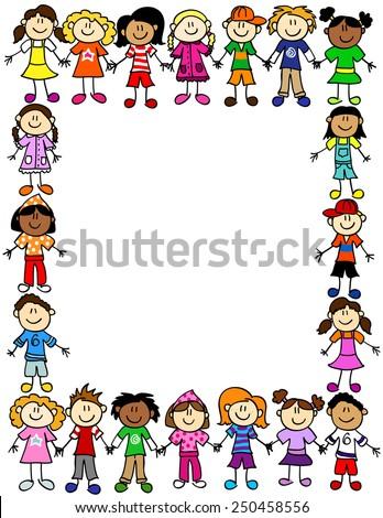 Frame Page Border Cute Kid Cartoon Stock Illustration 250458556 ...