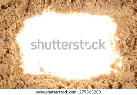 frame out of the sand with a white background - stock photo