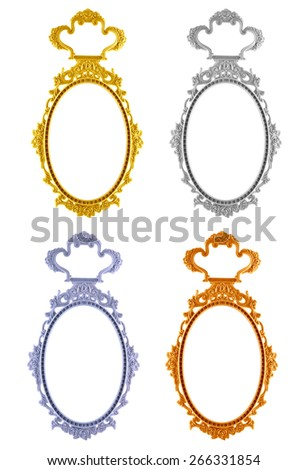 Frame oval mirror 4 color circle isolated on white background. - stock photo