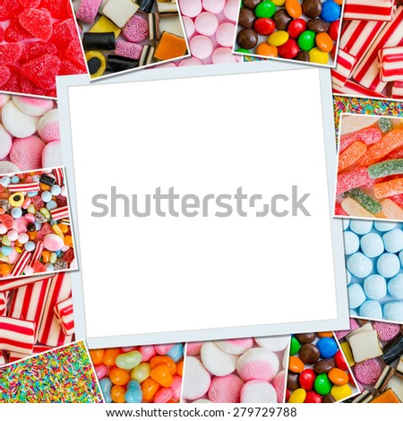 Frame photos of candies and jellies - stock photo