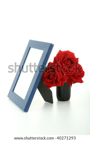 frame picture and re rose isolated on white - stock photo