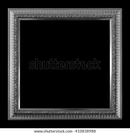 frame picture frame wooden Carved pattern isolated on a black background. - stock photo