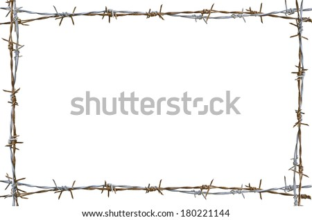 Frame Rusty barbed wire isolated on white - stock photo