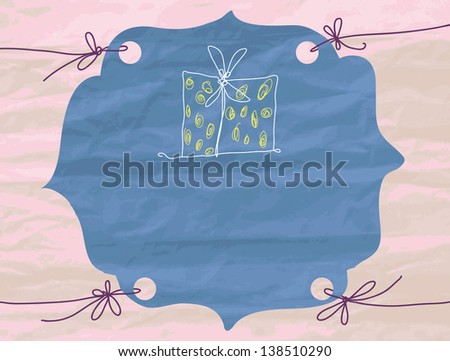 Frame with a texture of crumpled paper. Place for the message. Figure gift.  Raster version of vector file - stock photo