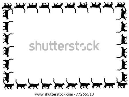 Frame with black cat walks on white background - stock photo