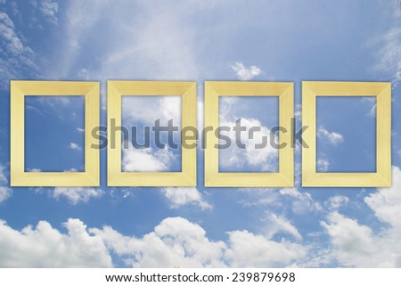 frame with blue sky  background - stock photo