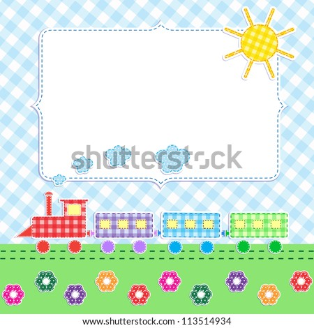 Frame with cartoon train. Raster version - stock photo