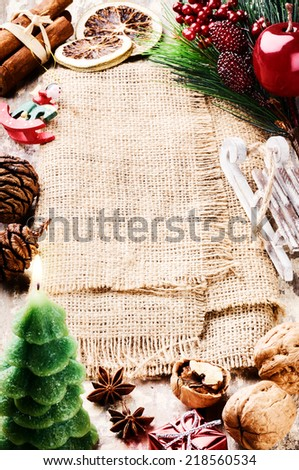 Frame with Christmas tree branches and festive vintage decorations  - stock photo