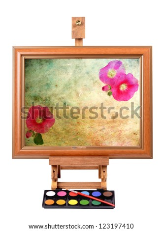 Frame with colorful canvas Easel for painting style - stock photo