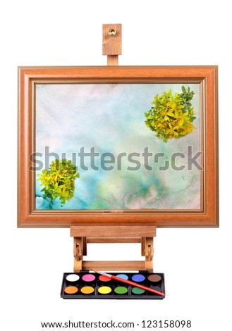 Frame with colorful canvas  Easel for painting style Isolated on white background - stock photo