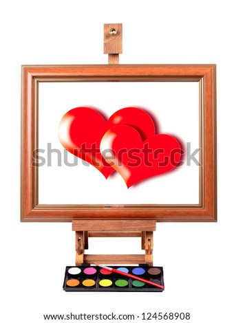 Frame with colorful canvas red Heart, tripod  , painting style - stock photo