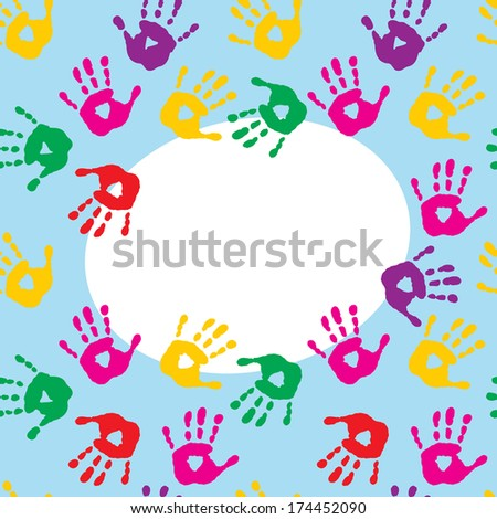 Frame with colorful prints of a children's hands