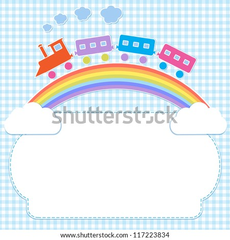 Frame with colorful train on rainbow. Raster version