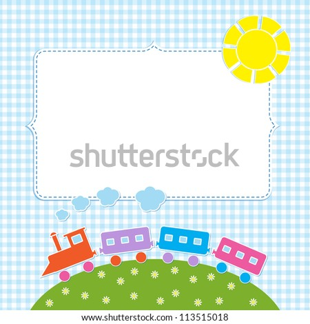 Frame with colorful train. Raster version - stock photo