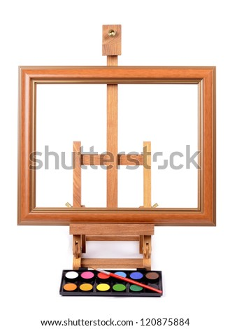 Frame with Easel for painting style Isolated on white background - stock photo