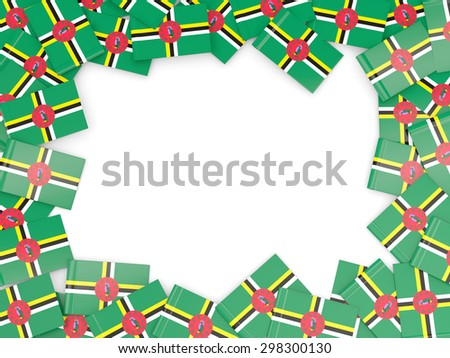 Frame with flag of dominica isolated on white - stock photo