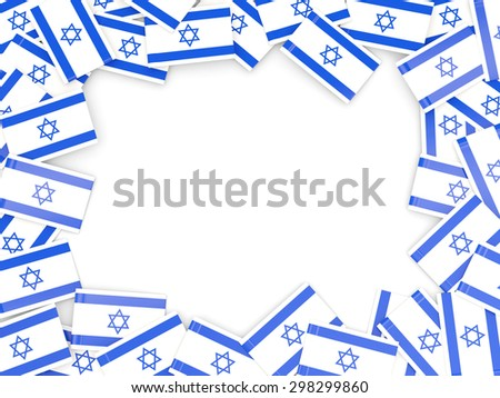 Frame with flag of israel isolated on white - stock photo