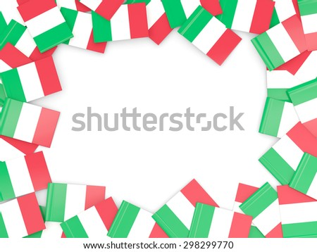 Frame with flag of italy isolated on white - stock photo