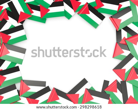 Frame with flag of palestinian territory isolated on white - stock photo