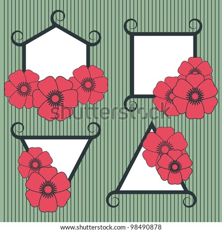 frame with flowers - stock photo