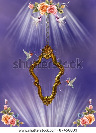Frame with flowers doves and hummingbird in the sky - stock photo