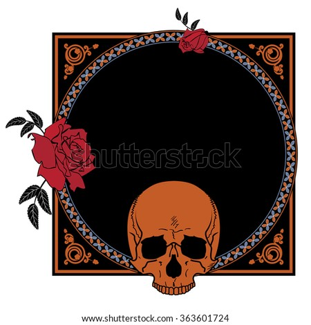 frame with flowers of roses and skull - stock photo